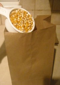 Homemade popcorn!  Avoid consuming all the harmful chemicals from pre-packaged microwaveable popcorn and try this instead!!