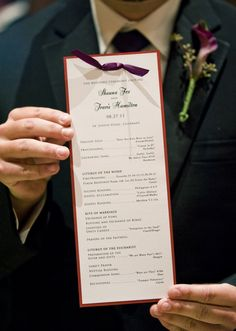 Purple and Red Layered Ceremony Program