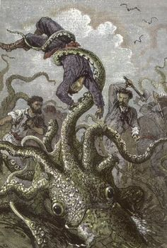 Giant squid in Twenty Thousand Leagues Under the Sea