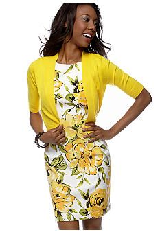 Plus size floral print sheath with sweater $79.73.  Full of yellow sunshine for the summer!