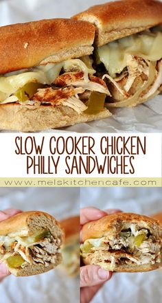 These Slow Cooker Chicken Philly Sandwiches are a perfect recipe for serving company or just for a busy weeknight.
