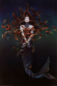 mermaid among fish