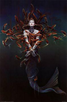 mermaid among fish