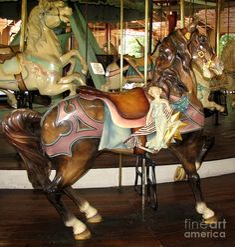 rare carousel animals   Antique Dentzel Menagerie Carousel Brown Horse Photograph
