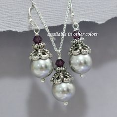 CHOOSE YOUR COLOR Swarovski Light Grey Pearl by alexandreasjewels