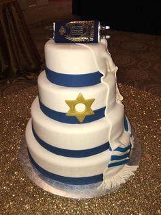Bar Mitzvah cake - torah, white, blue, special occasion, boy