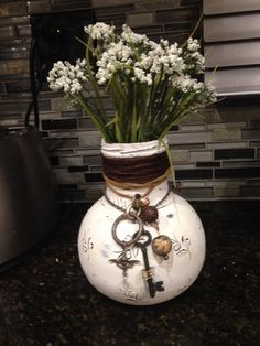 Olive Jar Gets Repurposed to Shabby Chic Vase :: Hometalk