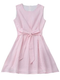 Sleeveless Striped Bowknot Dress - PINK AND WHITE S Mobile