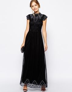 Frock and Frill Embellished High Neck Maxi Dress with Mesh Back