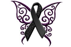tattoos butterfly melonoma cancer ribbon | here is my pain test tattoo black ribbon for melanoma and purple