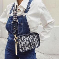 ♡ P I N T E R E S T : ♡ Denim dungarees + crisp white shirt + Dior logomania crossbody bag Fashion Bags, Fashion Accessories, Womens Fashion, Fashion Clothes, Fashion Fashion, Fashion Ideas, Mode Inspiration, Design Inspiration, Luxury Bags