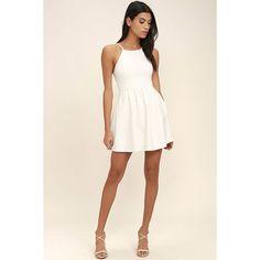 Oui Oui White Backless Skater Dress ($54) ❤ liked on Polyvore featuring dresses, skater skirt dress, white spaghetti strap dress, spaghetti strap dress, backless dresses and skater dress