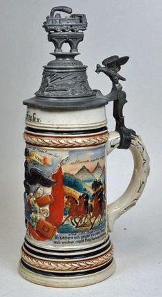Also an Eisenbahn (Railroad) Reservist's lid, German Beer Mug, German Beer Steins, Beer 101, Beer Mugs, Tea Set, Germany, Objects, Pottery, Antiques