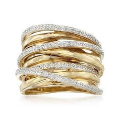 Stacked gold and diamond rings