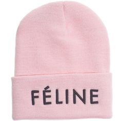 BRIAN LICHTENBERG Feline BABY PINK BLACK embroidered knit beanie ($42) ❤ liked on Polyvore featuring accessories, hats, beanies, pink, beanie hats, knit beanie, black beanie hat, embroidered beanie hats and embroidered hats