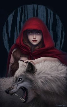 Character ideas: Scarlet Ref: Blood to bear me flowers Picture fantasy, illustration, red riding hood, wolf, girl) Red Ridding Hood, Red Riding Hood Wolf, Big Bad Wolf, Arte Disney, Red Hood, Little Red, Dark Art, Digital Illustration, Fantasy Illustration
