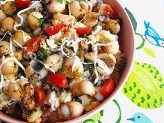 As receitas lá de casa: Salada de batata com choquinhos grelhados