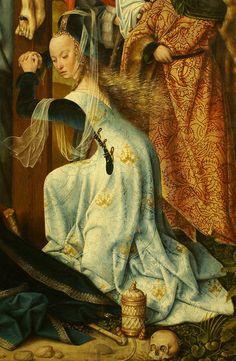 Master of Frankfurt, active in Antwerp between 1480 - 1525. detail St. Mary Magdalene.