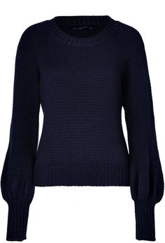 Antonia Zander Blue Navy Cashmere Sweater with Bishop Sleeves