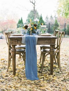 Blue Silk Table Runner | photography by http://www.wendycooperphotography.com
