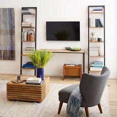 Modern Furniture, Home Decor & Home Accessories White Ladder Bookshelf, Bookshelves, Diy Ladder, Cute Furniture, Modern Furniture, Living Room Styles, Living Spaces, Tree Stump Side Table, Tree Table