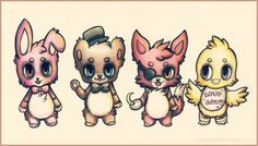 Bonnie, Freddy, Foxy, and Chica ~ Five Nights at Freddy's