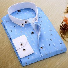 Men Polka Dot Printed Fashion Slim Long Sleeve Shirts Casual Polyester Dress Shirt 19 Color - Loluxe - 21
