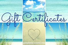 Gift Certificates and Cards from Completely Coastal Partner and Affiliate Store: http://www.completely-coastal.com/2015/12/gift-cards-gift-certificates-find.html Easy, breezy gift giving!
