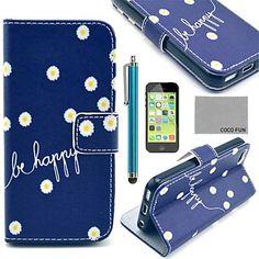 Coco fun® Daisy i blåt mønster pu læder hele kroppen tilfældet med skærmbeskytter, stylus og står for iphone 5c – DKK kr. 61