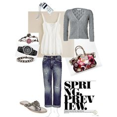 spring preview - j crew cami/tank, cropped cardigan, boyfriend cropped jeans, beaded flip flops, Tiffany whistle necklace, Fossil bracelets and watch, and Coach bag..
