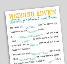 Your guests will have a great time re-creating your wedding story with a funny twist, and youll get a kick out of reading them.    Colors are