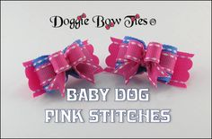 """Tiny Ties by Doggie Bow Ties! """"Baby Dog Pink Stitches"""""""