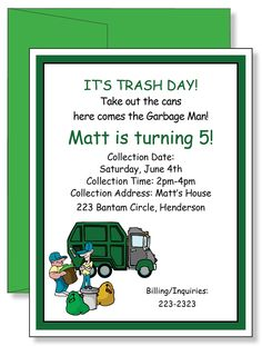 Garbage truck party photo invitations garbage truck party garbage google image result for httpimg2systatic000 garbage truck partytrash partytwin birthdaybirthday filmwisefo