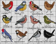 Bird selection FREE chart | Lesley Teare Thoughts on Design