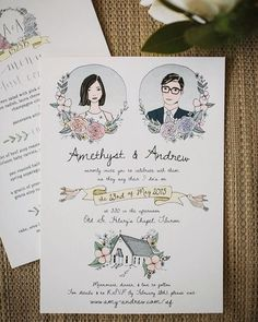 Check out these beautiful hand illustrated invites by thingsidrew on Etsy! @etsy tells us how to add a personal touch to your wedding on #Bridebook! #etsy #craft #unique #art #beautiful #cute #pretty #illustration #drawing #weddinginvitation #weddinginvite #savethedate #stationery #love #wedding #weddingplanning #weddingideas #weddinginspiration #details #handmade #doodle #flowers #calligraphy #monday