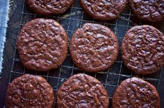 King Arthur - Deep-dark, chewy fudge cookies, free of gluten and added fat. Fudge Cookie Recipe, Fudge Cookies, Drop Cookies, Cookie Bars, Cookie Recipes, Dessert Recipes, Molasses Cookies, Flour Recipes, Gluten Free Baking