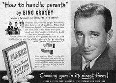Bing Crosby for Fleers Candy Coated Gum Peppermint from the February 1946 True Romances magazine