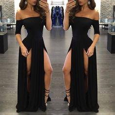 Sexy Black Prom Dress,Long Prom Dresses,Charming Prom Dresses,Evening Dress Prom Gowns, Formal Women Dress,Sexy Slit Prom Gown