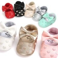 Wish | Leather Newborn Baby Girls Princess Heart-Shaped Mary Jane Big Bow Prewalkers Soft Bottom Shoes