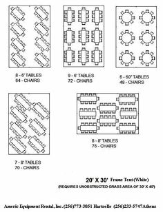20x30 Tent - table layout for up to 70 people