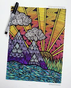I'm not lost, i'm simply exploring ☀️                                                                                                                                                                                 More Doodle Drawings, Sharpie Drawings, Zentangle Drawings, Zentangle Art Ideas, Doodles Zentangles, Zentangle Patterns, Sharpie Doodles, Simple Landscape Drawing, Landscape Drawings