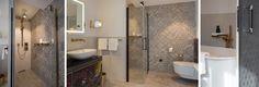 Eine Schiebetür in eleganter, grauer Rautenstruktur geleitet den Gast in das technisch hochwertig ausgestattete Bad, das dank unterschiedlich großer Fliesen stilvoll wirkt. Besonders schön: Die silbrig scheinenden Mosaikfliesen verleihen dem Bad in Kombination mit dem individuell gestalteten Unterschrank, den ein Hamburger Künstler entworfen hat, eine kreative Note.    Foto: Simone Ahlers für JOI-Design    #WOHNIDEE #WOHNIDEESuiten #designedbyus #InteriorDesign