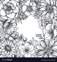 Floral frame with hand drawn spring flowers and vector image on VectorStock Flower Line Drawings, Flower Sketches, Flower Frame, Flower Art, Spring Drawing, Sketch Background, Wreath Drawing, Floral Drawing, Hand Drawn Flowers