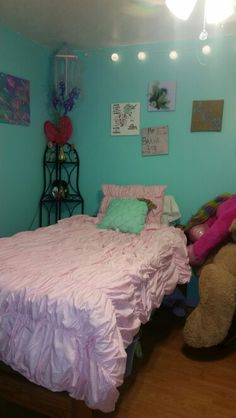 "Princess room! !! Her "" mint blue"" walls with pink bed! !"