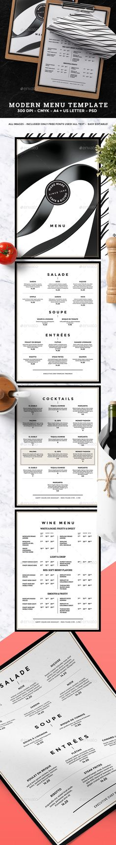 Minimal Menu — Photoshop PSD #elegant #print template • Available here → https://graphicriver.net/item/food-menu/18686284?ref=pxcr