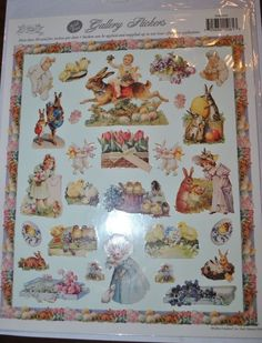 Vtg Gallery Graphics Easter Stickers Sheet of 30 Victorian Bunnies + Gifted Line #GalleryGraphics