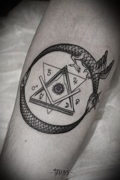 Time, Life, Death, tattoo by Alex Tabuns [Links to other wonderful OUROBOROS TATTOOS]