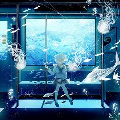 Beautiful Anime Drawings & Illustrations to Inspire You Kawaii Anime Girl, Anime Art Girl, Kawaii Art, Anime Girls, Toy Bonnie, Blue Anime, Train Art, Estilo Anime, Image Manga