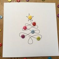 This is a simple but effective design of a swirly christmas tree with cute colourful buttons for baubles. Size: This card comes with a white envelope and in a protective cellophane bag. If you have any questions or requests about this, or a. Button Christmas Cards, Christmas Card Crafts, Button Cards, Homemade Christmas Cards, Printable Christmas Cards, Christmas Wrapping, Christmas Projects, Homemade Cards, Handmade Christmas