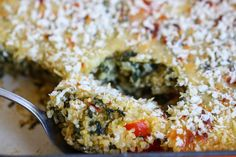 Spinach and Cheese Quinoa Casserole (replace chicken stock with veggie stock and breadcrumbs with crushes nuts or almond meal.)